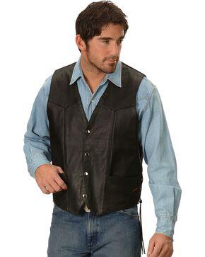 Interstate Leather Motorcycle Leather Vest, Black, hi-res