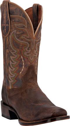 Dan Post Men's Duncan Sanded Western Boots - Square Toe, Brown, hi-res