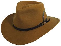 Scala Men's Pecan Brown Crushable Wool Felt Outback Hat, Pecan, hi-res