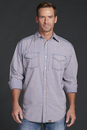 Cowboy Up Men's Plaid Snap Shirt, Blue, hi-res