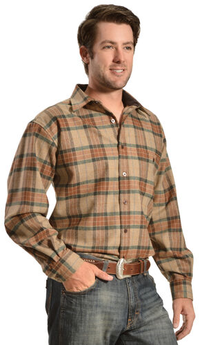 Pendleton Trail Elbow Patch Tan Plaid Shirt, Tan, hi-res