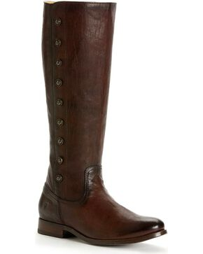 Frye Women's Melissa Military Riding Boots - Round Toe, Dark Brown, hi-res
