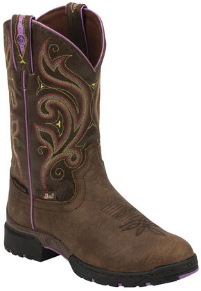 Justin Women's  Brown and Purple George Strait Waterproof Cowgirl Boots - Round Toe , Golden, hi-res