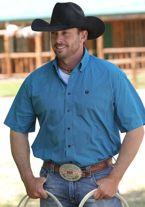 Cinch Men's Turquoise Short Sleeve Weave Shirt , Turquoise, hi-res