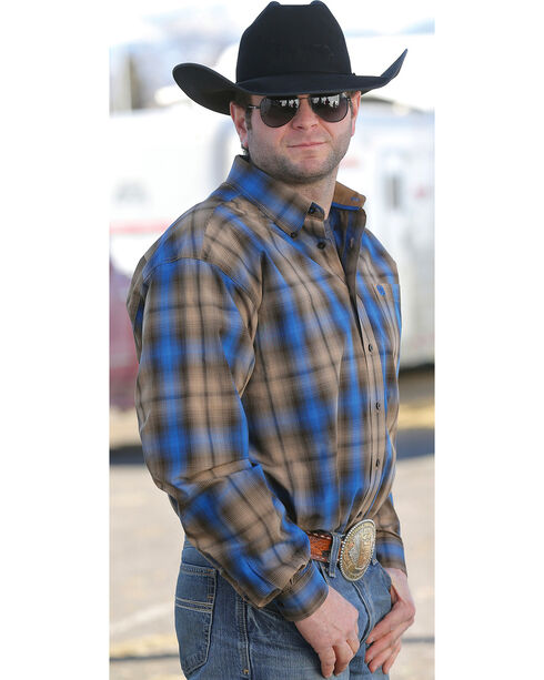 Cinch Men's Blue and Tan Plaid Western Shirt  , , hi-res