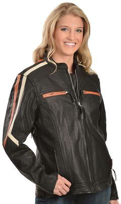 Interstate Leather Ladies Orange and Cream Striped Jacket, , hi-res