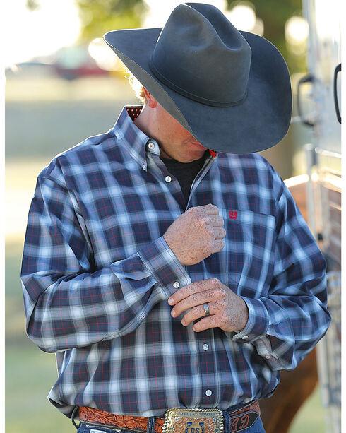 Cinch Men's Navy Long Sleeve Classic Fit Plaid Button Shirt - Big & Tall, Navy, hi-res