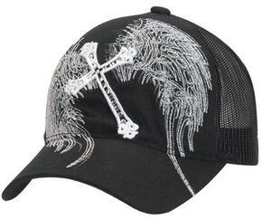 Blazin Roxx Cross & Wing Embroidered Mesh Back Cap, Black, hi-res