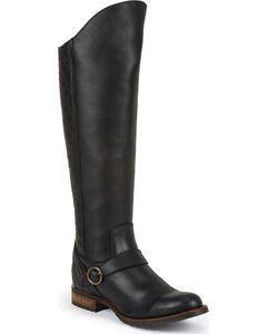 Justin Women's Tall Pull-On Leather Riding Boots - Round Toe, Black, hi-res