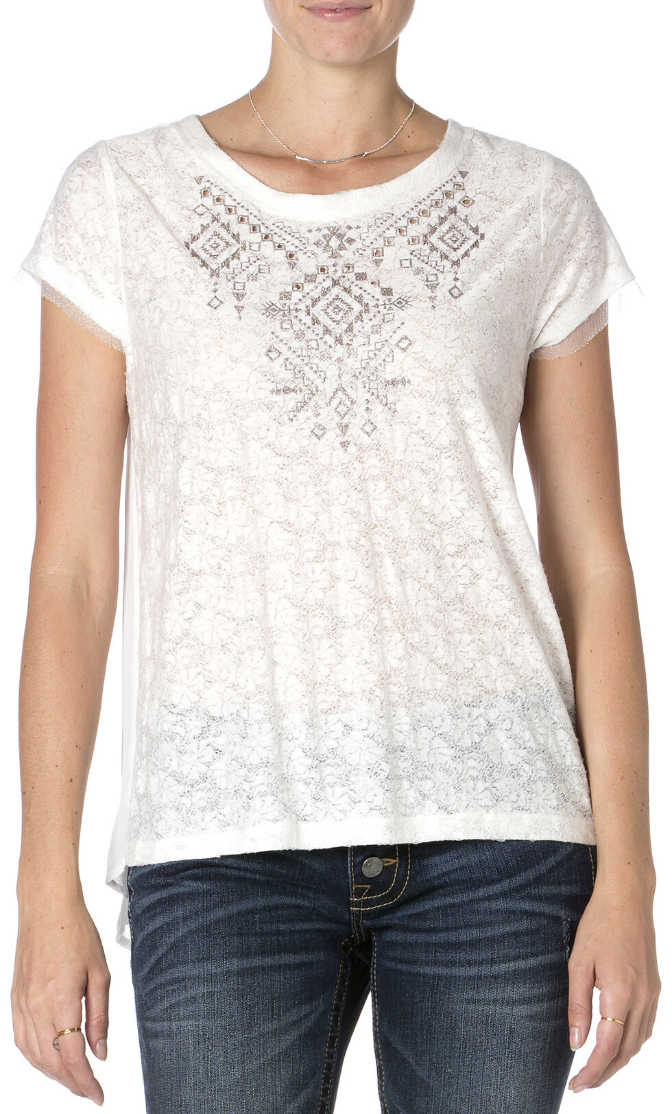 MIss Me Lace Embroidered Short Sleeve Top , Off White, hi-res
