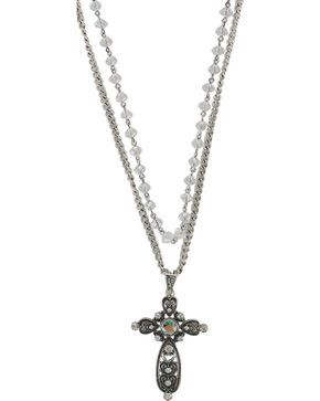 Shyanne Women's Layered Rhinestone Cross Necklace , Silver, hi-res