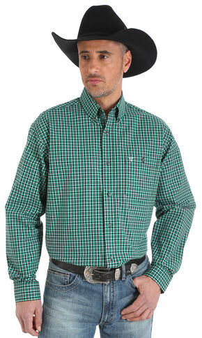 Wrangler 20X Men's Green/Black/White Advanced Comfort Competition Shirt - Big & Tall, Green, hi-res