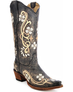Circle G Floral Embroidered Cowgirl Boots - Snip Toe, , hi-res
