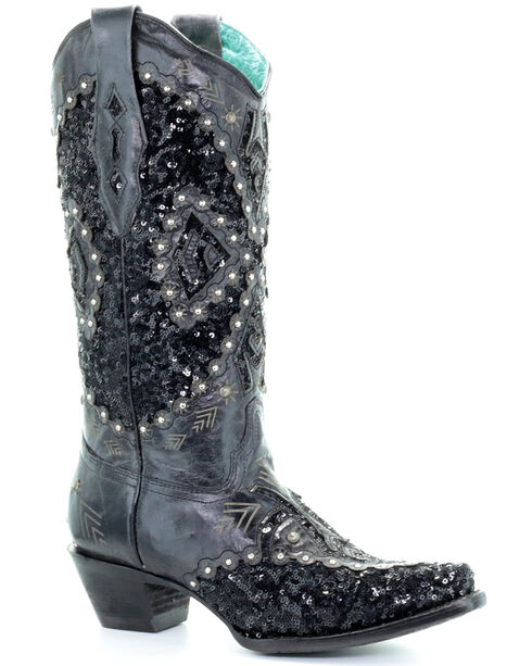 Corral Women's Black Cowhide Embroidered Inlay Cowgirl Boots - Snip Toe, , hi-res