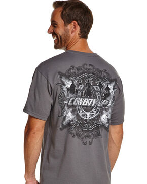 Cowboy Up Men's Open Range Graphic Tee, Grey, hi-res