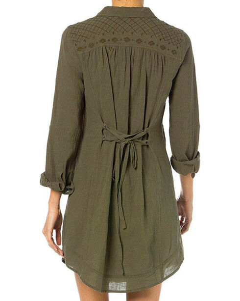 Miss Me Women's Embroidered Long Sleeve Shirt Dress, Olive, hi-res