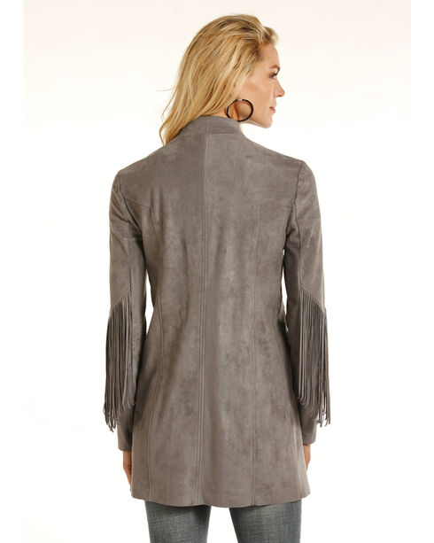 Powder River Outfitters Women's Micro Suede Fringe Jacket, Grey, hi-res