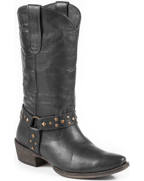 Roper Women's Studded Harness Cowgirl Boots - Snip Toe, Black, hi-res