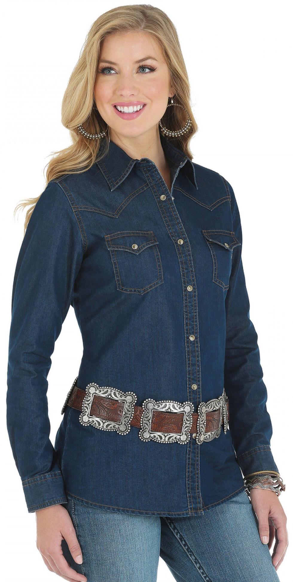 Wrangler Women's Denim Western Yoke Long Sleeve Shirt, Dark Denim, hi-res
