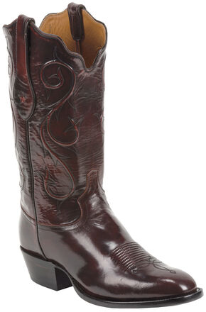 Tony Lama Black Cherry Brushed Signature Series Goat Western Boots - Square Toe , Black Cherry, hi-res