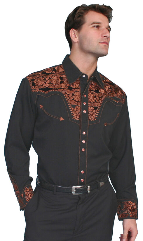 Scully Multi-Color Floral Embroidery Retro Western Shirt - Big, Black, hi-res