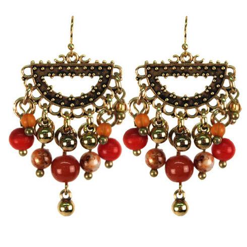 Treska Women's Saffron Sunset Bead Fringe Half-Ring Earrings , Red, hi-res