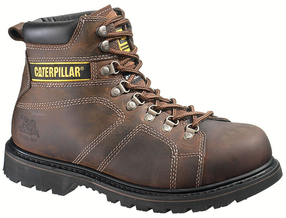 "Caterpillar 6"" Silverton Lace-Up Work Boots - Steel Toe, Dark Brown, hi-res"
