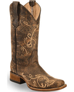 Circle G Dragonfly Embroidered Cowgirl Boots - Square Toe, , hi-res