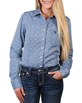 Shyanne Women's Floral Print Long Sleeve Western Shirt, Blue, hi-res