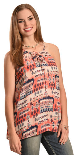 Jody of California Women's Printed Keyhole Sleeveless Top, Coral, hi-res