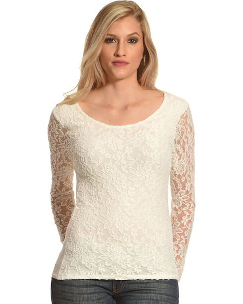 Panhandle Slim Women's Lace Knit Top, Natural, hi-res