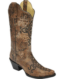 Corral Distressed Bronze Crystal Embroidered Cross Cowgirl Boots - Snip Toe , , hi-res
