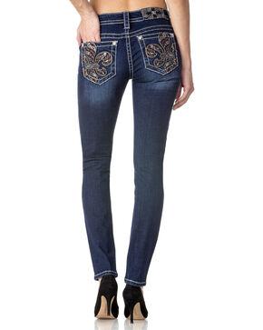 Miss Me Women's Fleur de Lis Skinny Jeans, Indigo, hi-res