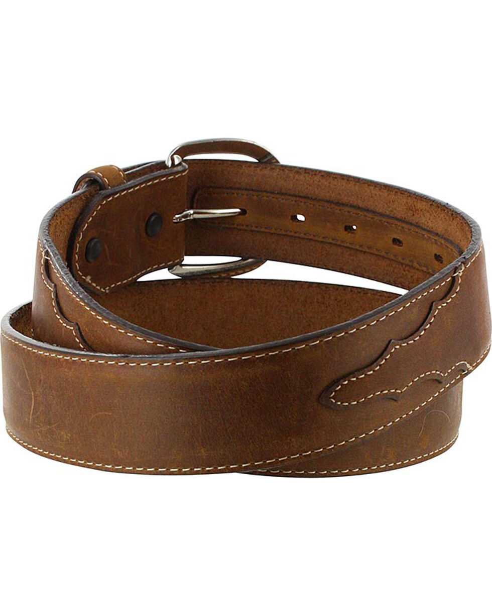 Silver Creek Men's Brown Classic Western Leather Belt , Brown, hi-res