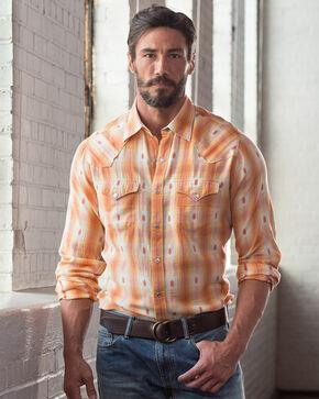 Ryan Michael Men's Ombre Dobby Plaid Shirt, Tang, hi-res