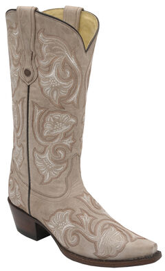 Corral Bone Floral Embroidered Cowgirl Boots - Snip Toe, , hi-res