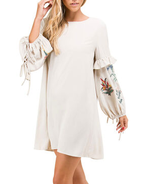 Polagram Women's Floral Embroidered Long Sleeve Dress, Beige/khaki, hi-res