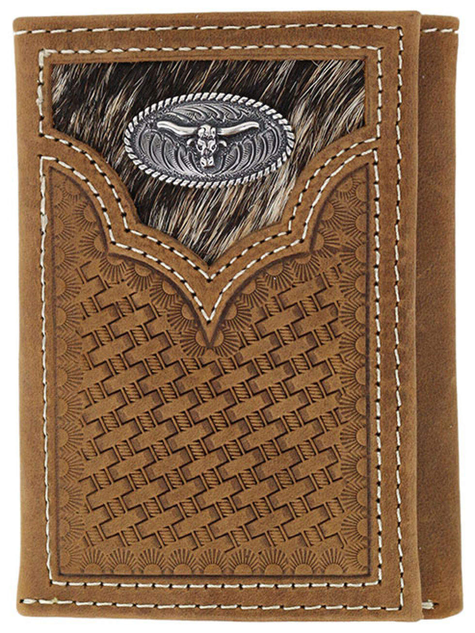 Cody James Men's Hair-on-Hide Longhorn Trifold Wallet, Brown, hi-res