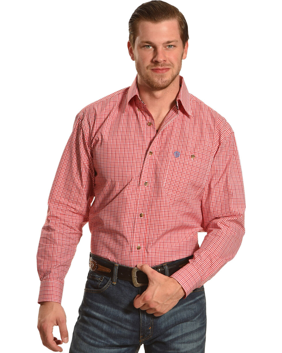 Wrangler George Strait Red/White Plaid Long Sleeve Shirt, Red, hi-res