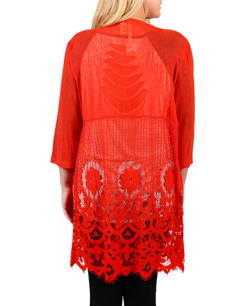 Forgotten Grace Women's Coral Lace Kimono - Plus Size, Coral, hi-res