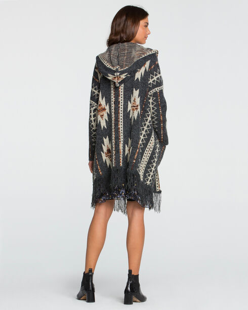 Miss Me Women's Aztec Printed Fringe Hooded Cardigan, Charcoal, hi-res