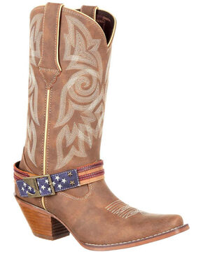 Crush by Durango Women's Flag Accessory Western Boots, Brown, hi-res