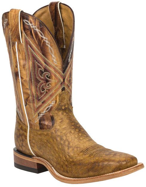 Tony Lama Tan Reverse Quill Print Americana Cowboy Boots - Square Toe , Tan, hi-res