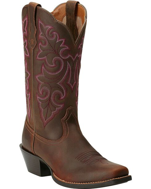 Ariat Round Up Cowgirl Boots - Square Toe, Brown, hi-res