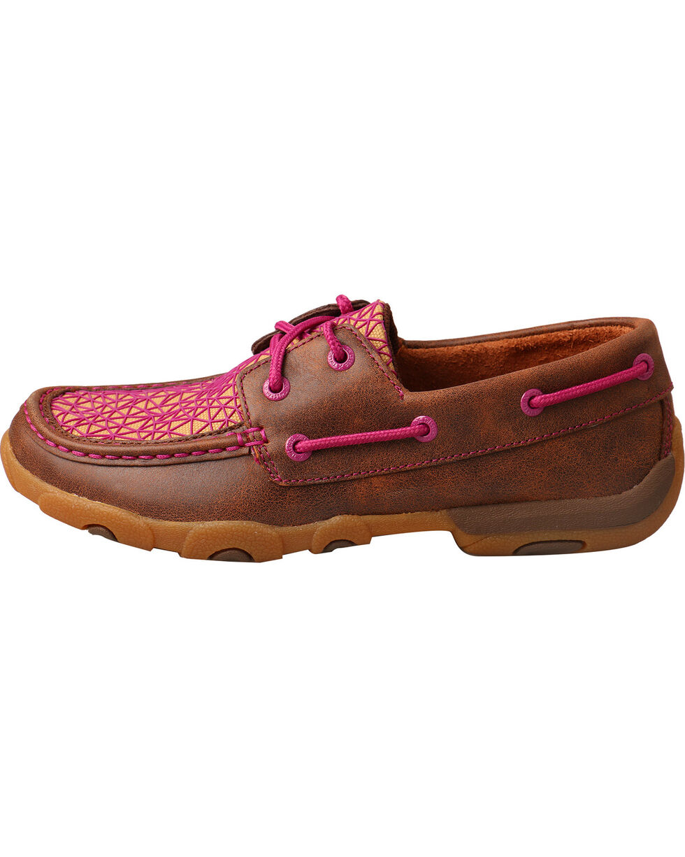 Twisted X Women's Bomber Brown Pink Driving Mocs - Moc Toe, Multi, hi-res