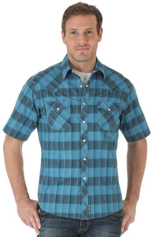 Wrangler Retro Men's Short Sleeve Blue Checkered Shirt, Blue, hi-res
