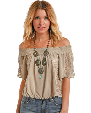 Panhandle Women's Off The Shoulder Crinkle Top, Taupe, hi-res