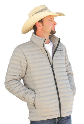 Cinch Grey Logo Lightweight Down Fill Jacket, Grey, hi-res
