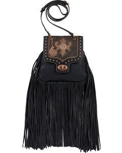 Bandana by American West Winslow Collection Fringe Crossbody Flap Bag, Black, hi-res