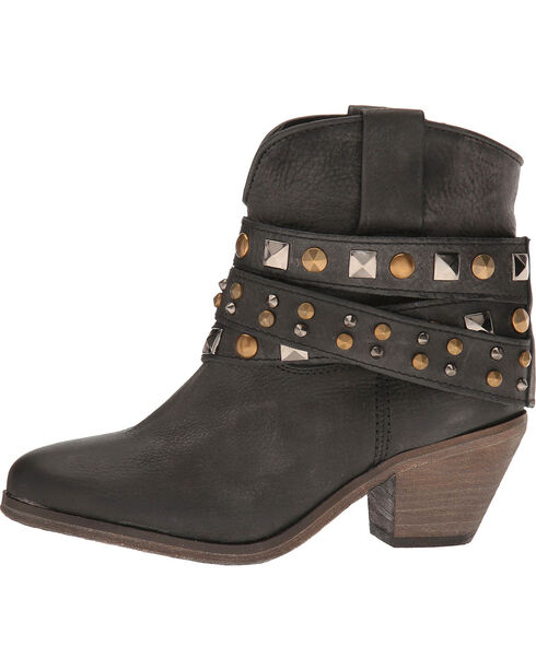 Corral Women's Black Studded Strap Short Boots - Round Toe , Black, hi-res